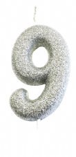 Number 9 Silver Glitter Candle